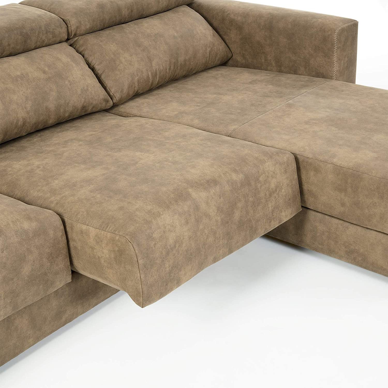 Kave Home Sofá Atlanta Chaise Longue marrón Pardo: Amazon.es ...