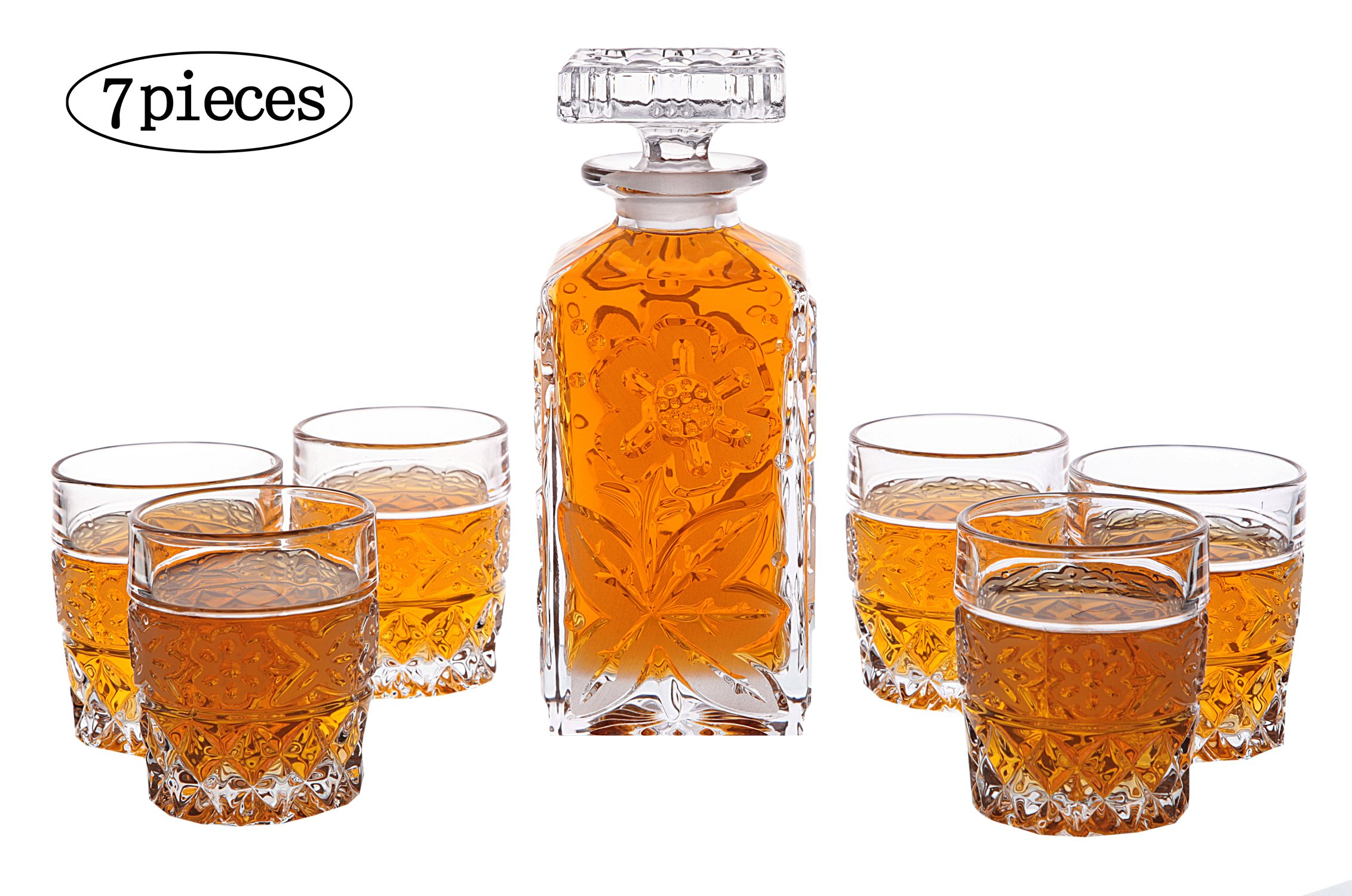 Whiskey Decanter And Glasses Set of 7 Piece, Personalized Crystal Decanter & Crafted Crystal Glasses Set for Wine,Scotch Liquor,Irish Whisky, Bourbon or Brandy.Perfect Whiskey Liquor Fan Gift.