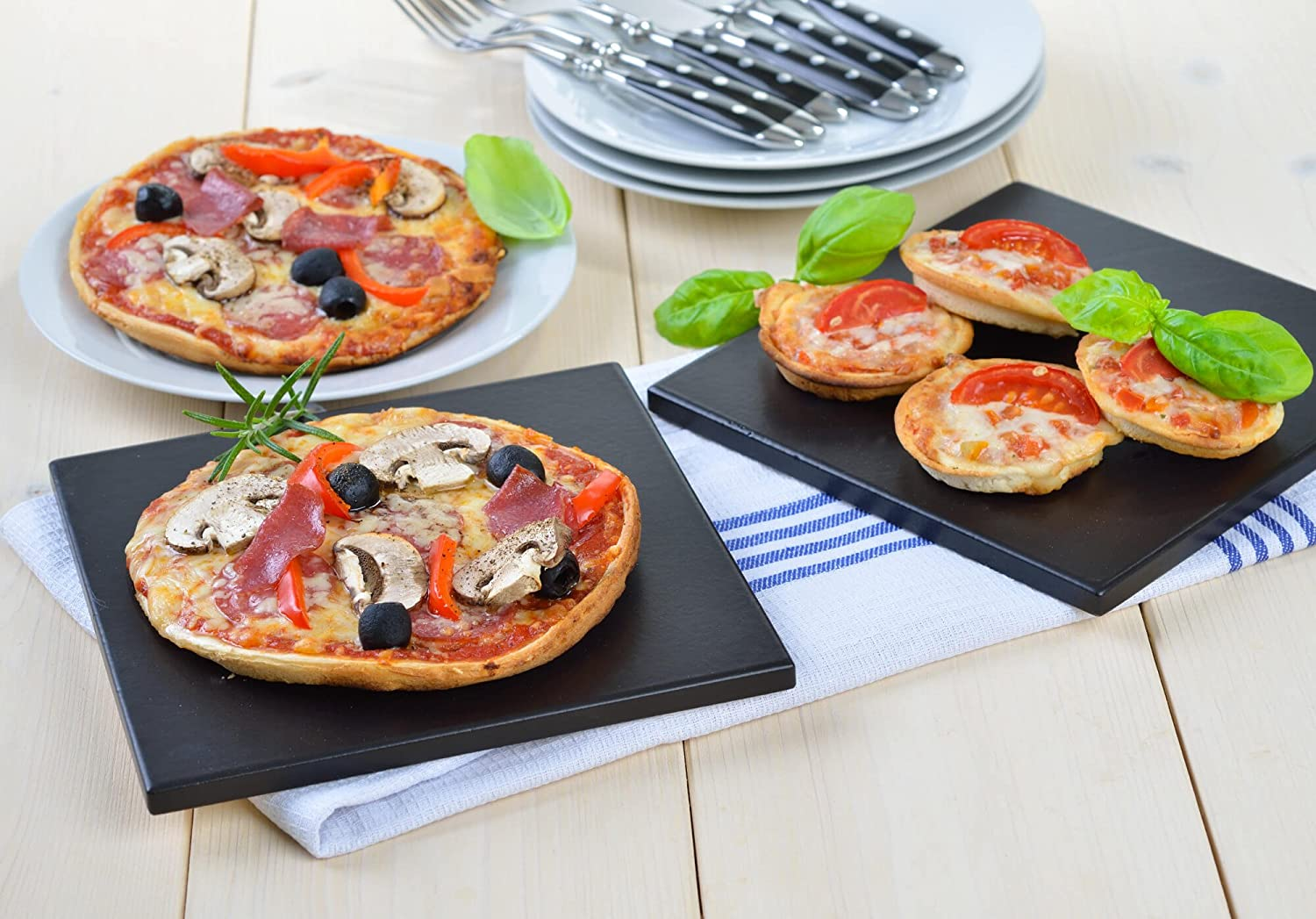Baking Set for Oven Use Set of 4 natural GR/ÄWE Stone Pizza Boards