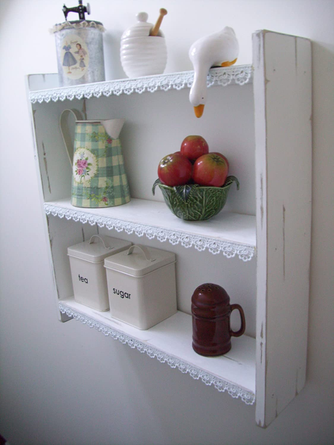 shabby chic kitchen furniture. 60cm shabby chic pine shelves with lace trim shelf bookcase furniture kitchen bedroom bathroom amazoncouk u0026 home