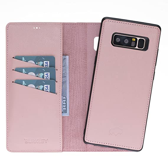 new arrivals 5c20b 47761 Samsung Note 8 Leather Case by Burkley, Leather Wallet Folio Case with  Detachable Snap-on Back Cover for Samsung Note 8 | Book Style Cover with  Card ...