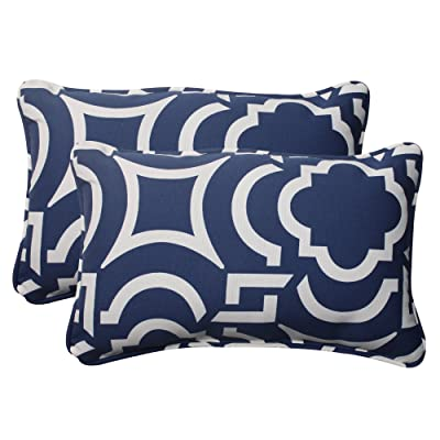 "Pillow Perfect Outdoor/Indoor Carmody Navy Lumbar Pillows, 11.5"" x 18.5"", Blue, 2 Pack: Home & Kitchen"