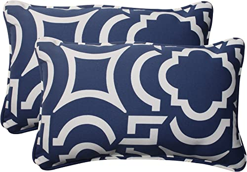 Pillow Perfect Outdoor/Indoor Carmody Navy Lumbar Pillow