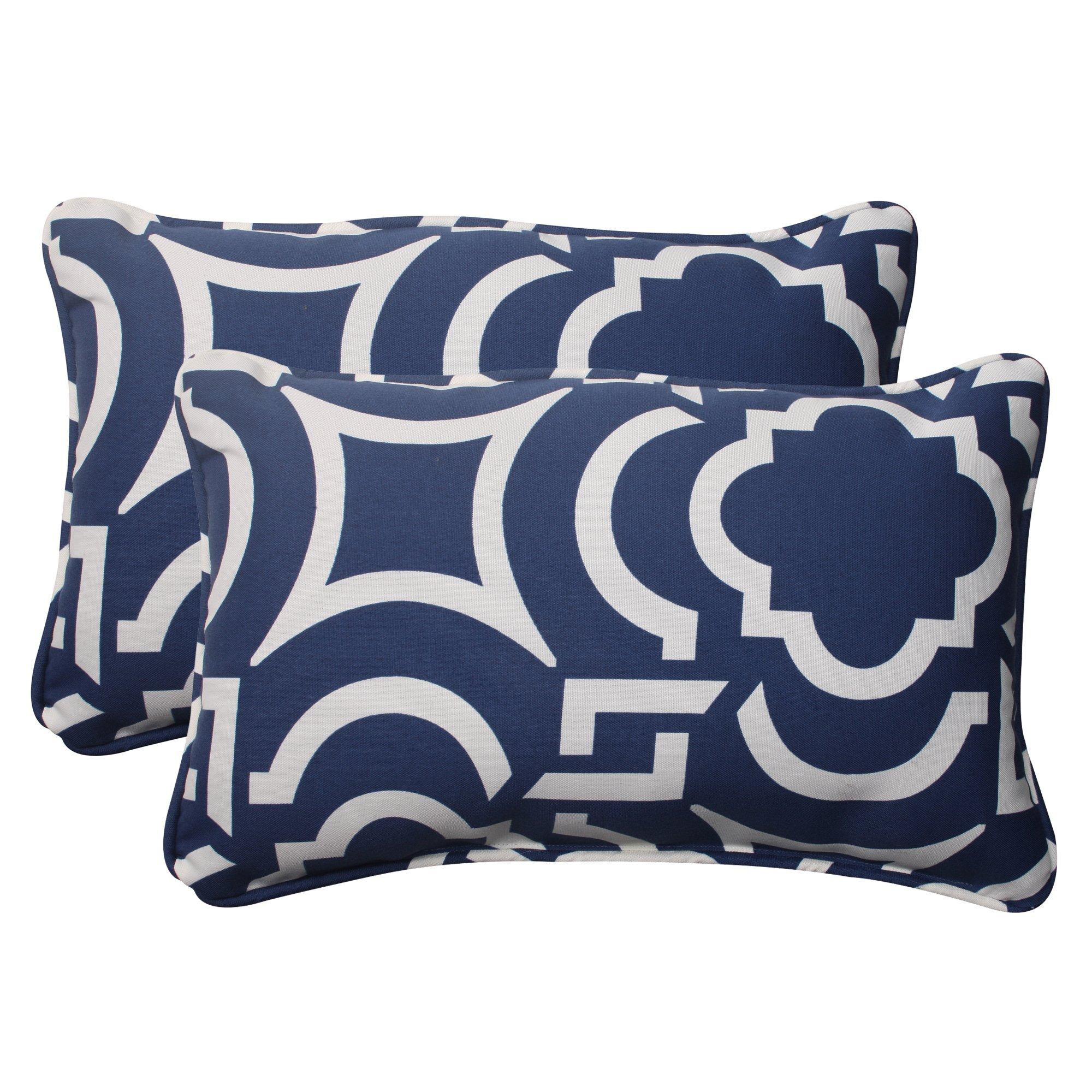 Pillow Perfect Indoor/Outdoor Carmody Corded Rectangular Throw Pillow, Navy, Set of 2