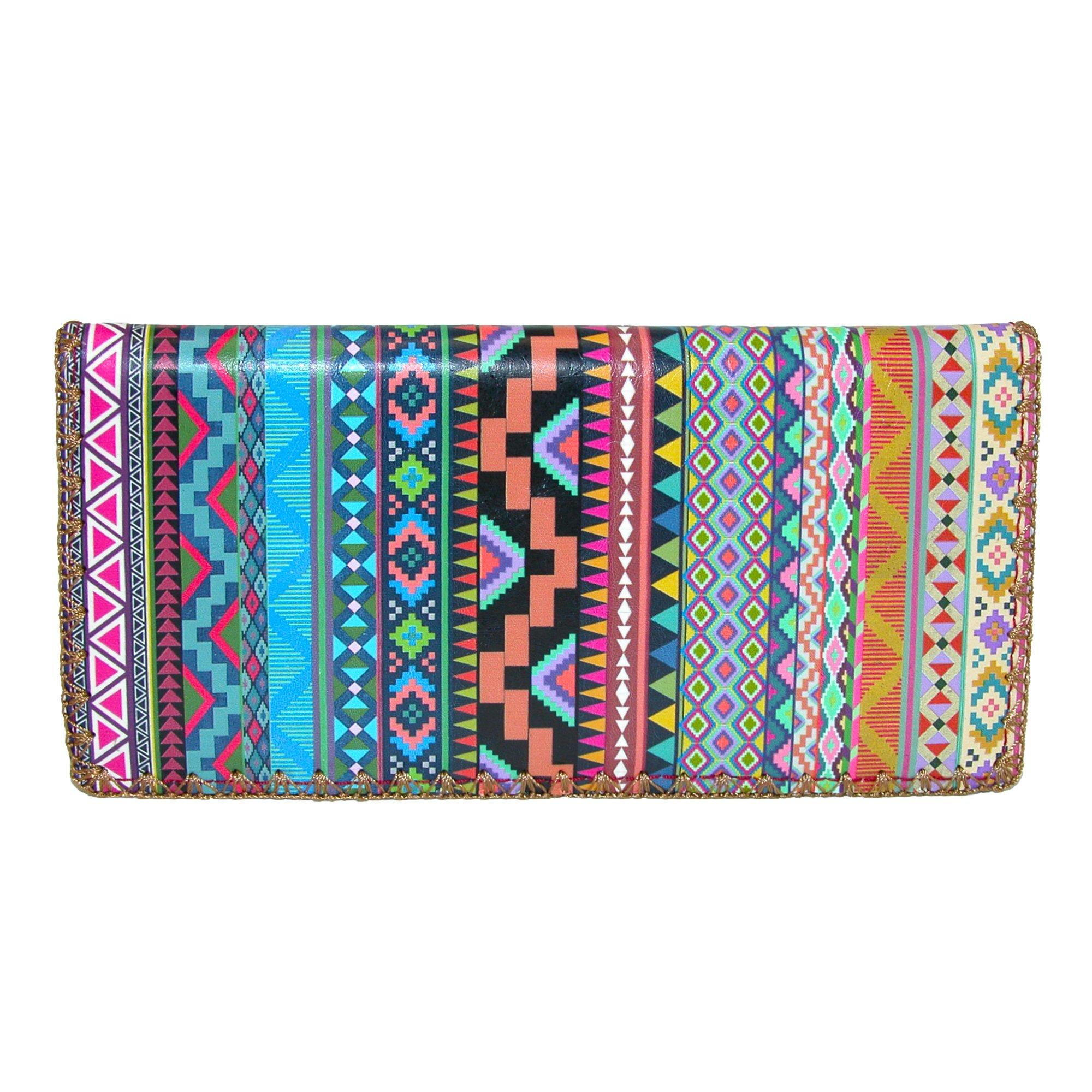 Mlavi Women's Aztec Print Slim Fold Checkbook Wallet, Multi-Color