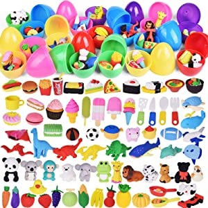 FUN LITTLE TOYS 72 Pcs Pencil Erasers Prefilled Easter Eggs (24 Pieces Easter Eggs Total) for Easter Egg Fillers, Easter Basket Stuffers, Easter Gifts for Kids
