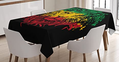 Amazon Com Ambesonne Rasta Tablecloth Ethiopian Flag Colors On Grunge Sketchy Lion Head With Black Backdrop Dining Room Kitchen Rectangular Table Cover 52 X 70 Lime Green Home Kitchen