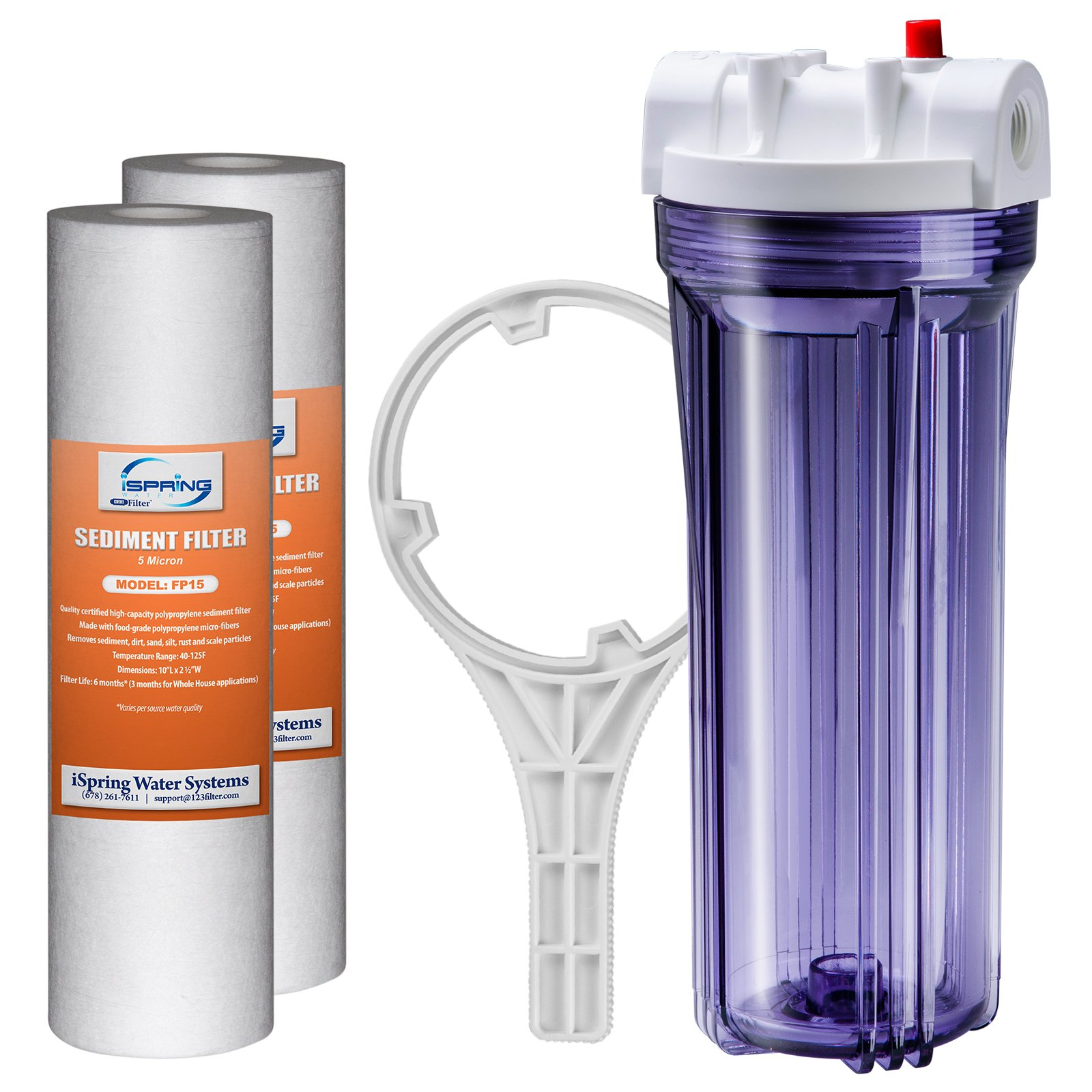 iSpring HC14+ FP15X2 Whole House Transparent Water Filter Housing 10'' x FNPT Inlet/Outlet with 2 PP Filters (5 Micron), 1/2'', Clear