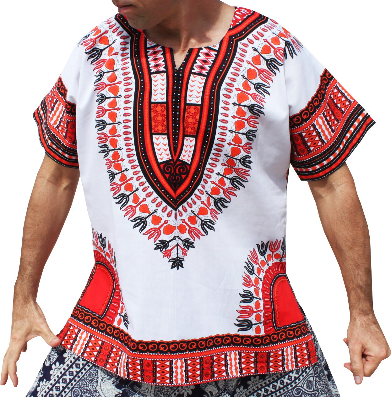 RaanPahMuang Brand Unisex Bright White Cotton Africa Dashiki Shirt Plain Front variant20830AMZ