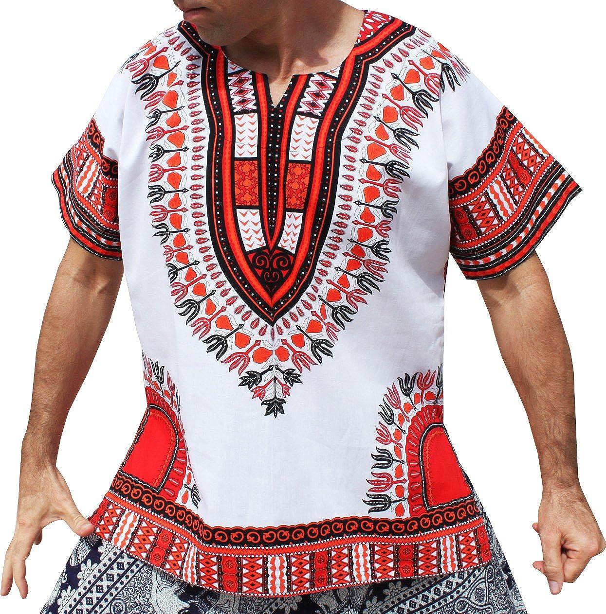Raan Pah Muang Brand Unisex Bright White Cotton Africa Dashiki Shirt Plain Front CA_AMZvariant20830MDL