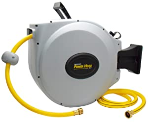 "Power Retractable Hose Reel Super Heavy Duty, 500 PSI Burst Strength, 3 Layer Hybrid Hose (5/8"" x 50 + 7FT Standard)"
