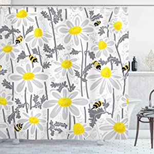 "Ambesonne Grey Shower Curtain, Daisy Flowers with Bees in Spring Time Honey Petals Floret Nature Purity Blooming, Cloth Fabric Bathroom Decor Set with Hooks, 70"" Long, Yellow White"