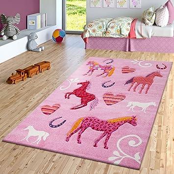 Amazon.de: TT Home Kinder Teppich Pferde Design Konturenschnitt ...