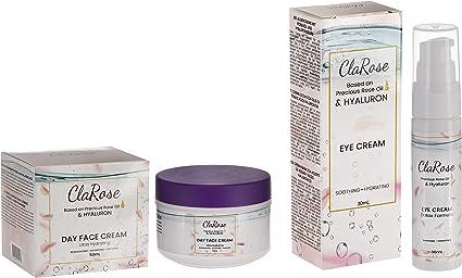 Kit facial antienvejecimiento con ácido hialurónico de ClaRose con aceite de rosas 100 % natural; Crema facial (50 ml) y crema de contorno de ojos (30 ml): Amazon.es: Belleza
