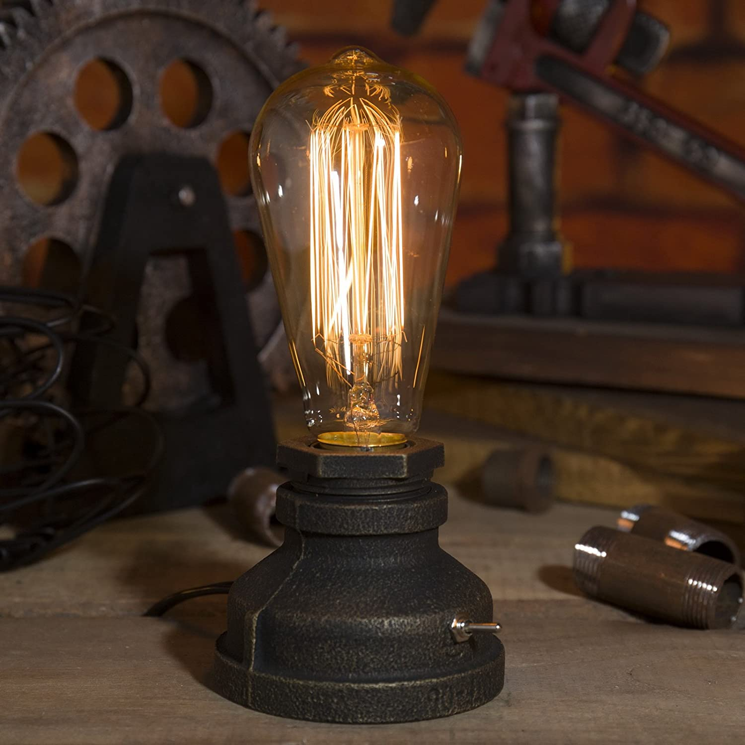 Vintage Industrial Style Metal Pipe Table Desk Lamp Light with Edison Bulb Adjustable12