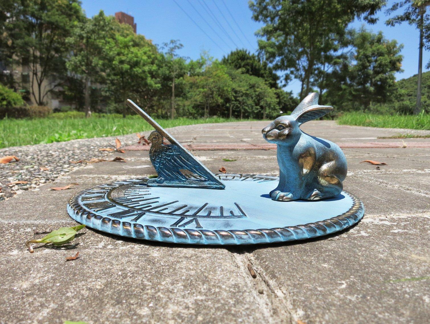 Brass Decorative Rabbit Sundial 10'' Inches Wide