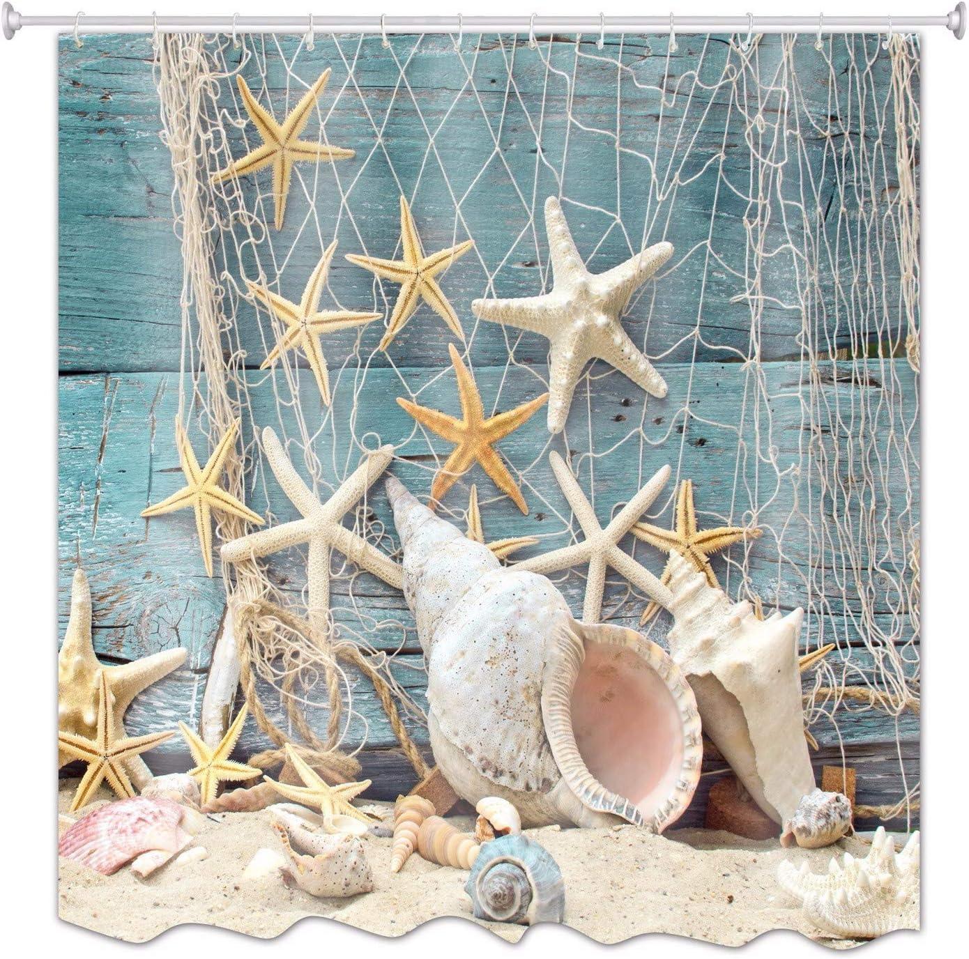 A.Monamour Barco De Madera Azul Decoración Náutica Mar Marina Red De Pesca Estrellas Y Conchas Foto Imprimir Poliéster Cortina De Ducha 180X180 Cm / 72X72 Pulgadas