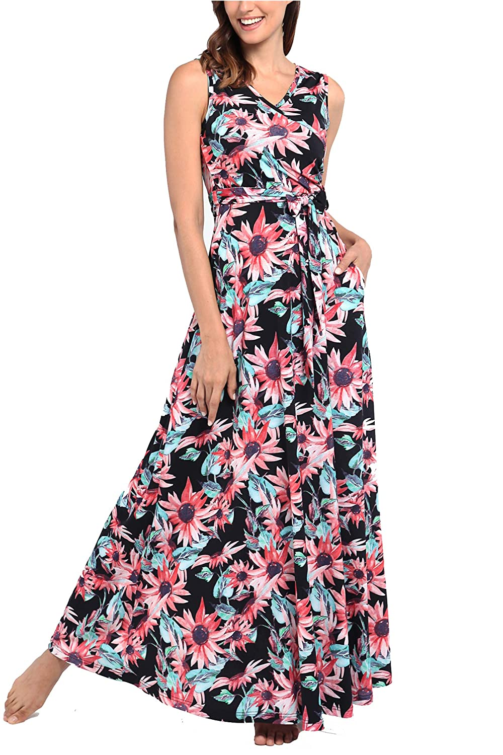 1f39e88de Comila Women's Summer V Neck Floral Maxi Dress Casual Long Dresses with  Pockets at Amazon Women's Clothing store