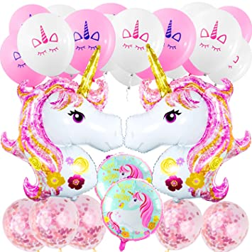 Suministros de Decoraciones de Fiesta de Unicornio, MOOKLIN Decoración de Cumpleaños Boda Lindo Conjunto, 4pcs Unicornio (Enorme Rosa y Redondo), ...