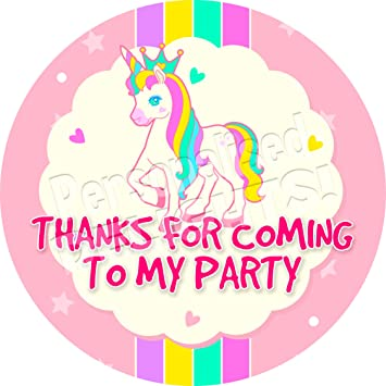 Personalised delights pony party unicorn sticker labels 6 stickers 9 5cm each non