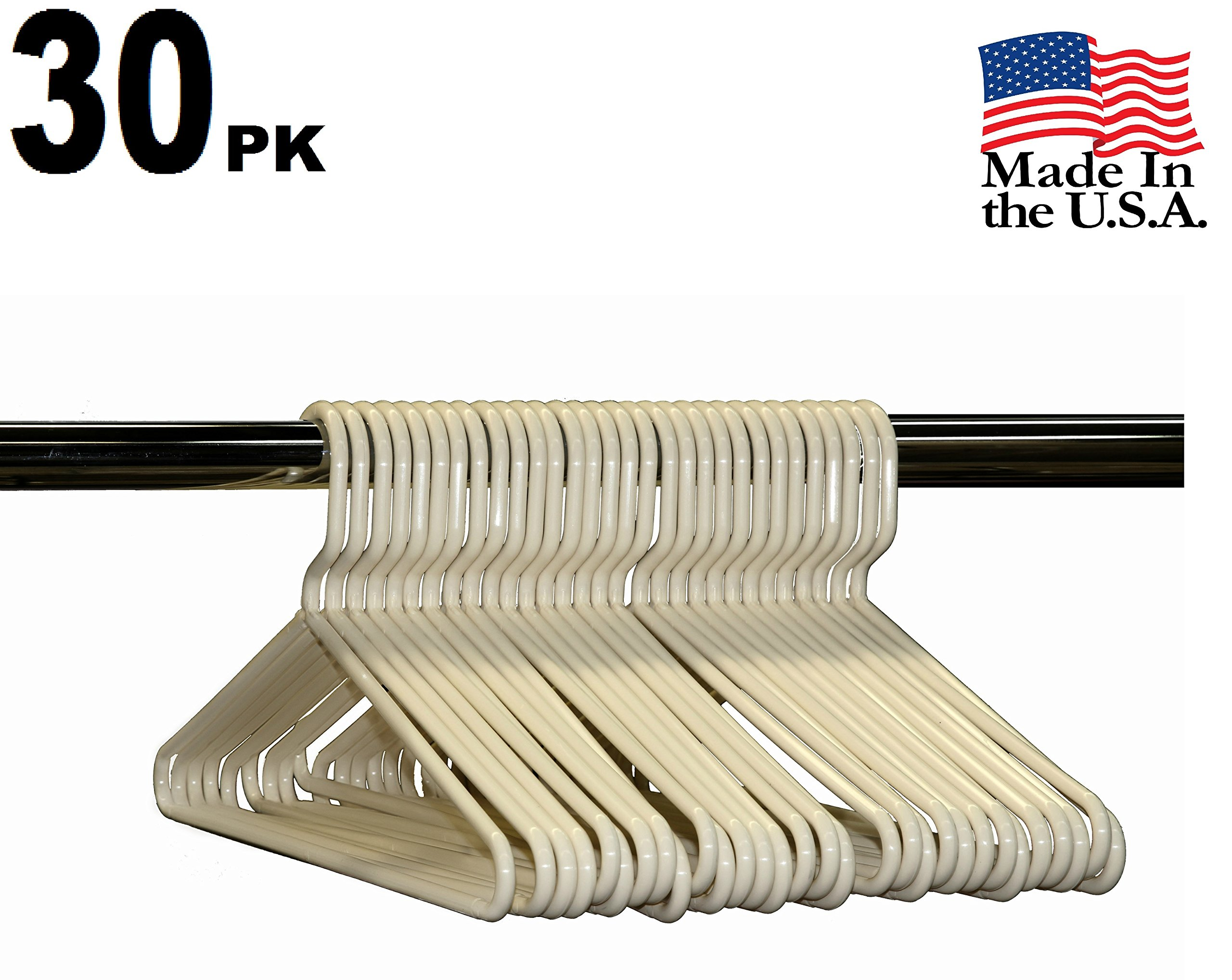 Best Durable Everyday Heavy-Duty Adult Thick Plastic Clothing Tubular Hangers - No Hooks, USA Made (Set of 30 Ivory)