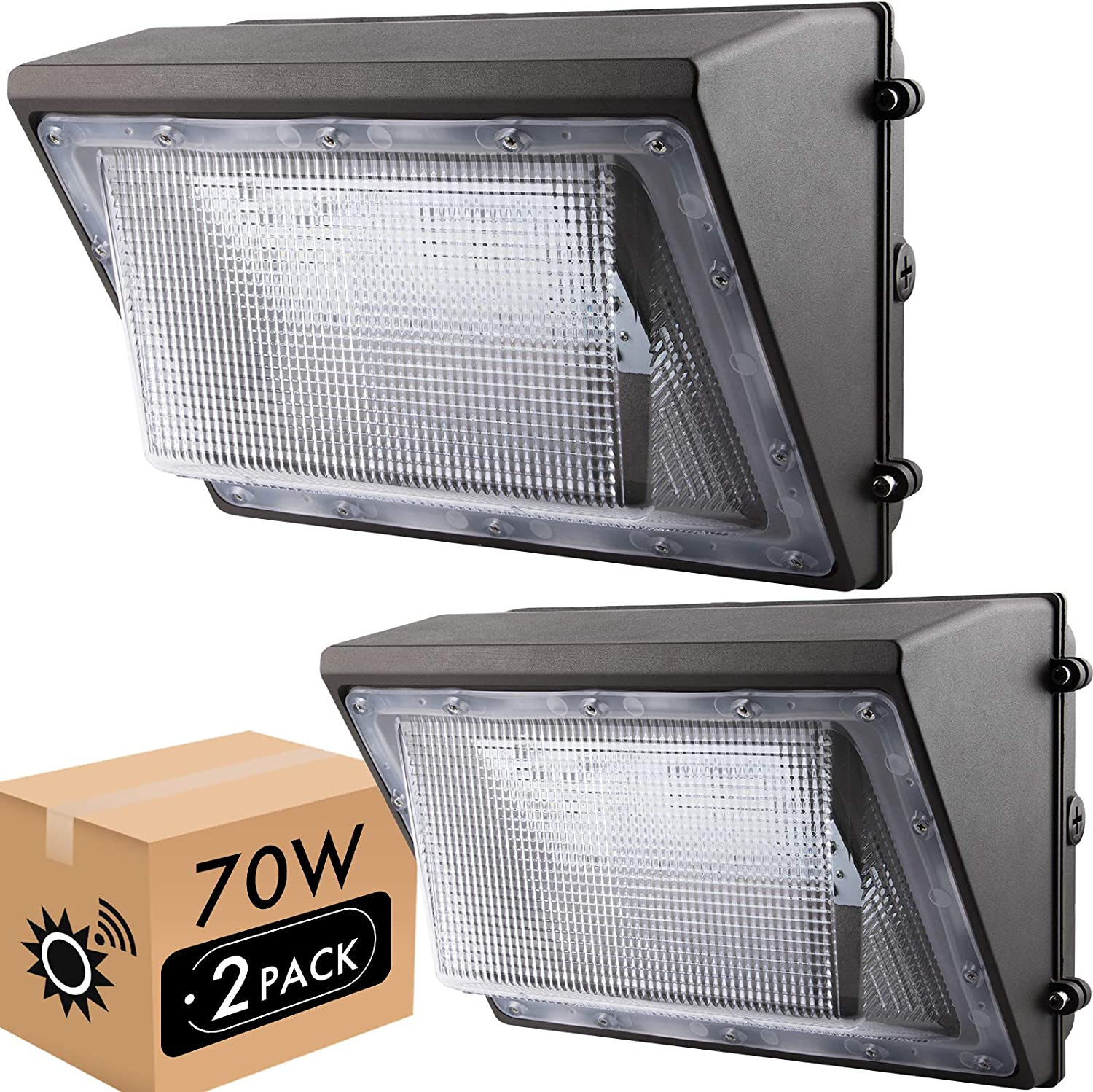 Amazon Com Lightdot 70w Led Wall Pack Lights With Dusk To Dawn Photocell 2 Pack 8000lm 5000k Daylight Ip65 Waterproof Wall Mount Outdoor Security Lighting Fixture Etl Dlc Listed Home Improvement