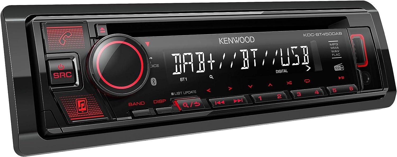 Kenwood Kdc Bt450dab Cd Autoradio Mit Dab Und Bluetooth Freisprecheinrichtung Hochleistungstuner Soundprozessor Usb Aux Spotify Control 4x50 Watt Tastenbeleuchtung Rot Navigation