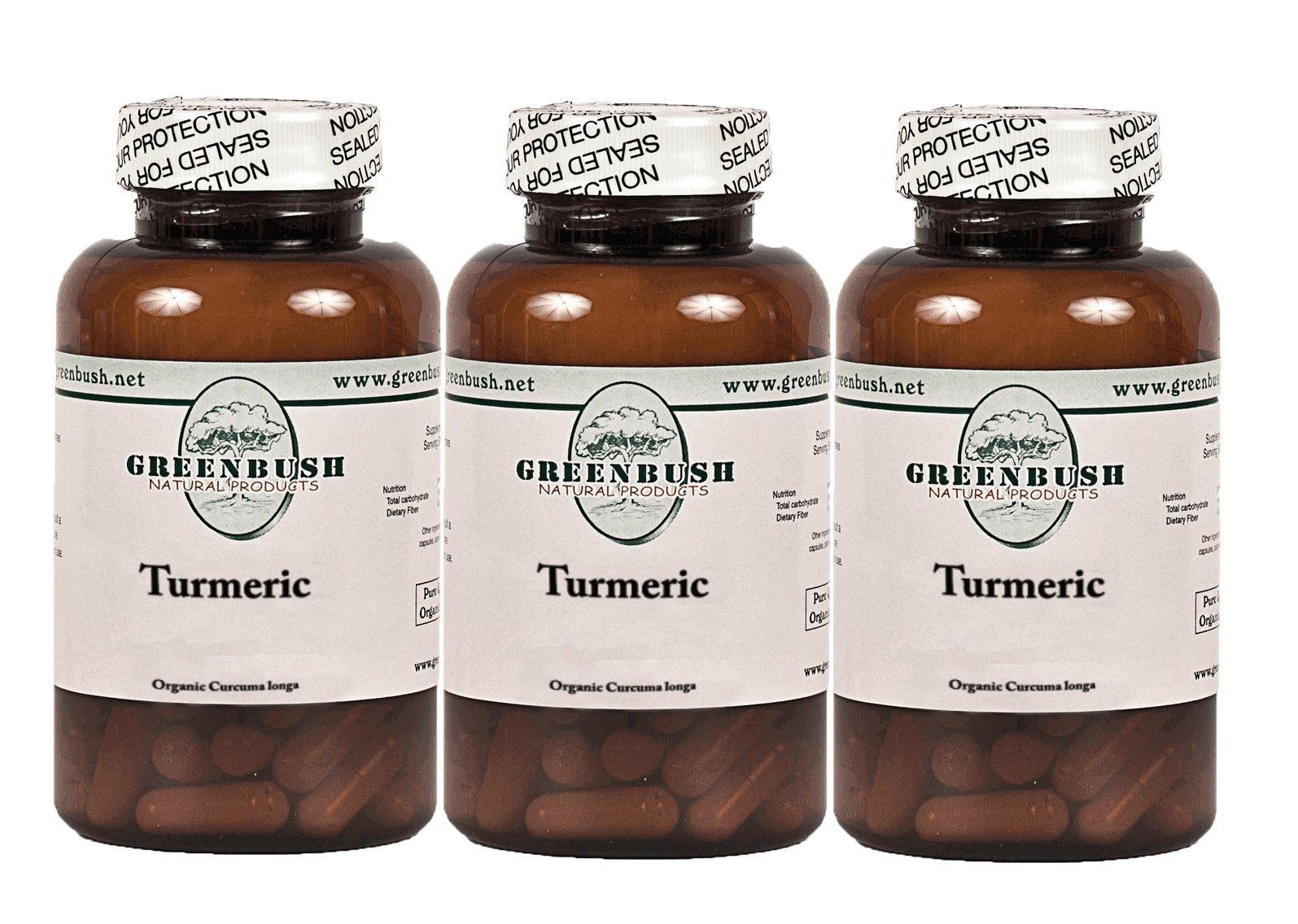 3 Bottle Pack Organic Turmeric 100 Pure Vegetarian Capsules 575mg total. Top Quality, No Additives. Curcumin For Support of Pain, Inflammation, Mental clarity and Cognitive Support in the Elderly.