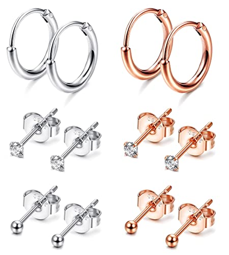 efe72099368fa Sllaiss 6 Pairs Sterling Silver 2mm Tiny Stud Earrings Women Men Small  Endless Hoops Earring Round CZ Ball Stud Cartilage Piercing Earrings Set,  Rose ...