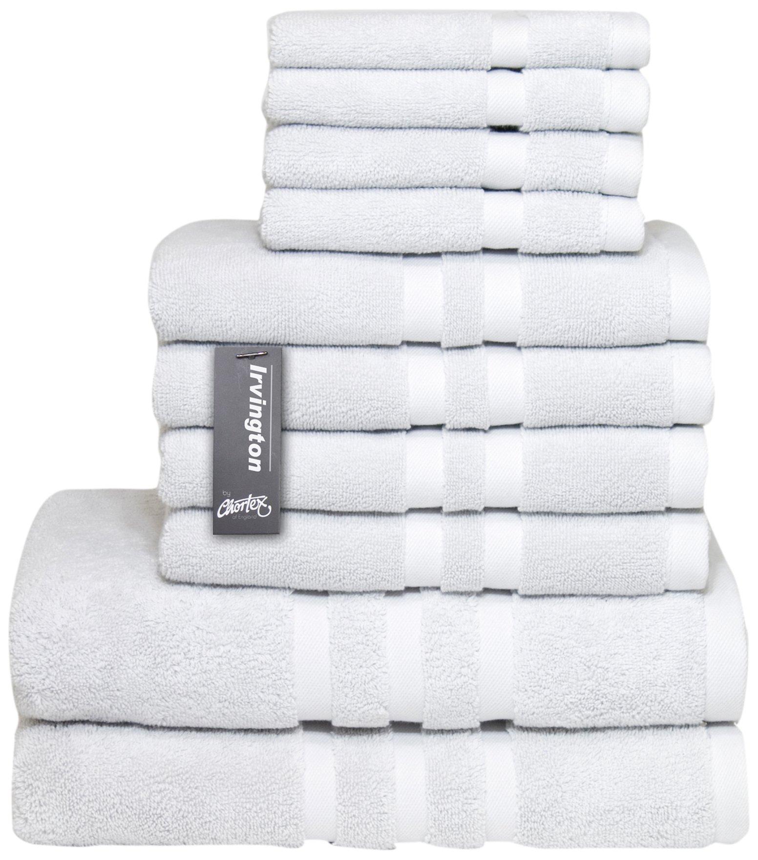 Chortex Luxury Turkish Cotton 10 Piece Set, Set of 10 Towels, Silver