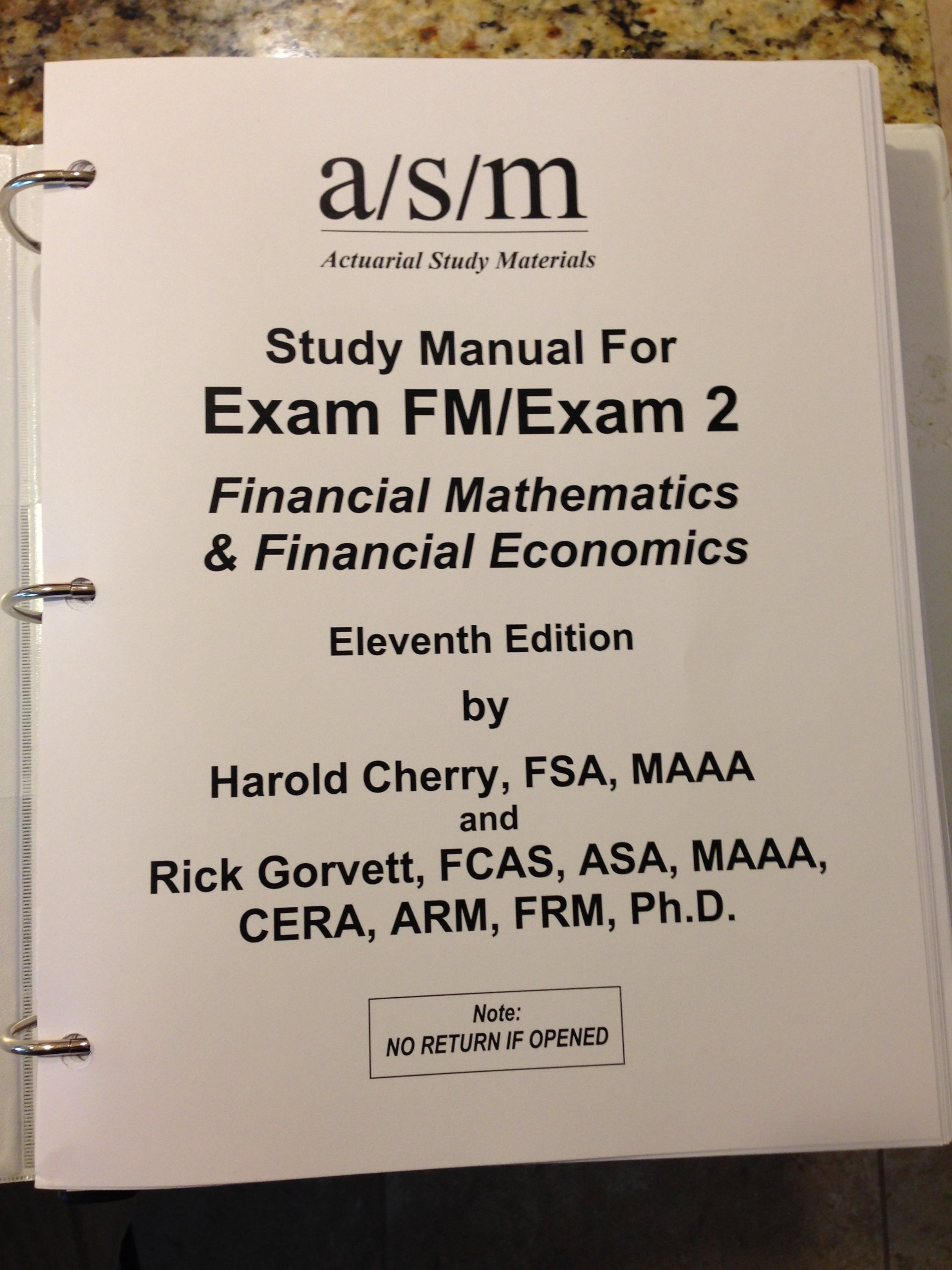 ASM Study Manual for Exam FM/Exam 2: Financial Mathematics & Financial  Economics: Harold Cherry, Rick Gorvett: Amazon.com: Books