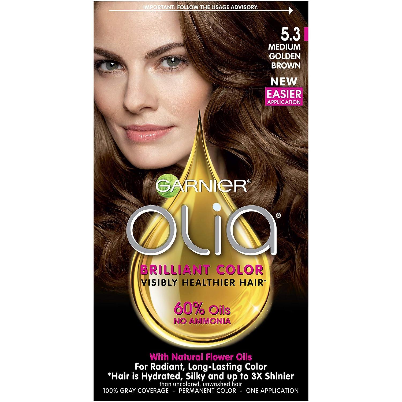 Garnier Olia Ammonia-Free Brilliant Color Oil-Rich Permanent Hair Color, 5.3 Medium Golden Brown (Pack of 1) Brown Hair Dye (Packaging May Vary)