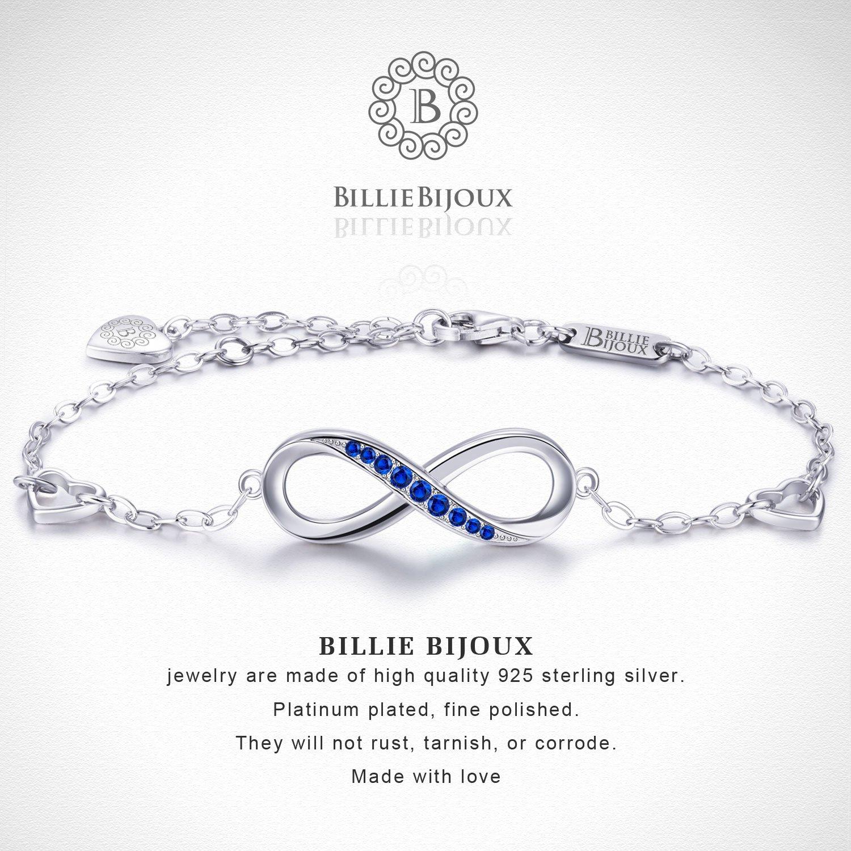 Billie Bijoux Womens 925 Sterling Silver Infinity Endless Love Symbol Charm Adjustable Bracelet Gift for Mother's Day (Blue) by Billie Bijoux (Image #4)
