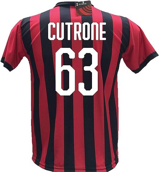 Camiseta de fútbol Cutrone 63 Milan réplica autorizada 2018-2019 niño (tallas 2 4 6 8 10 12) adulto (S M L XL): Amazon.es: Ropa y accesorios