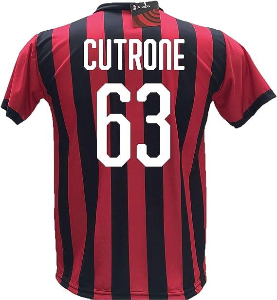Camiseta de fútbol Cutrone 63 Milan réplica autorizada 2018-2019 para niño (tallas 2, 4, 6, 8, 10, 12) para adulto (S, M, L, XL): Amazon.es: Ropa y accesorios