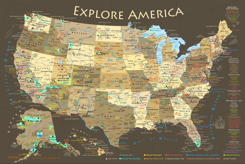 Amazon.com: GeoJango Maps National Parks Map Poster with USA Travel ...