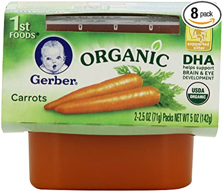 gerber 1st foods organic carrots 2 count 2 5 ounce tubs pack of 8 amazon com grocery gourmet food