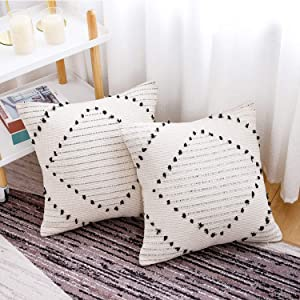 famibay 2 Pack Handwoven Boho Throw Pillow Covers Decorative-Square Cotton Indoor Outdoor Pillow Covers 18 x 18 Inch- Neutral Farmhouse Pillow Cases Cushion Covers for Couch Bedroom(Linen and Black)