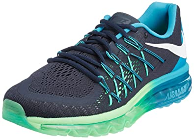 Nike Men's Air Max 2015 Dark Obsidian,White,Blue Lagoon,Poison Green Running