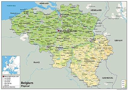 Cartina Belgio Politica.Belgio Mappa Fisica Carta Plastificata A0 Size 84 1 X
