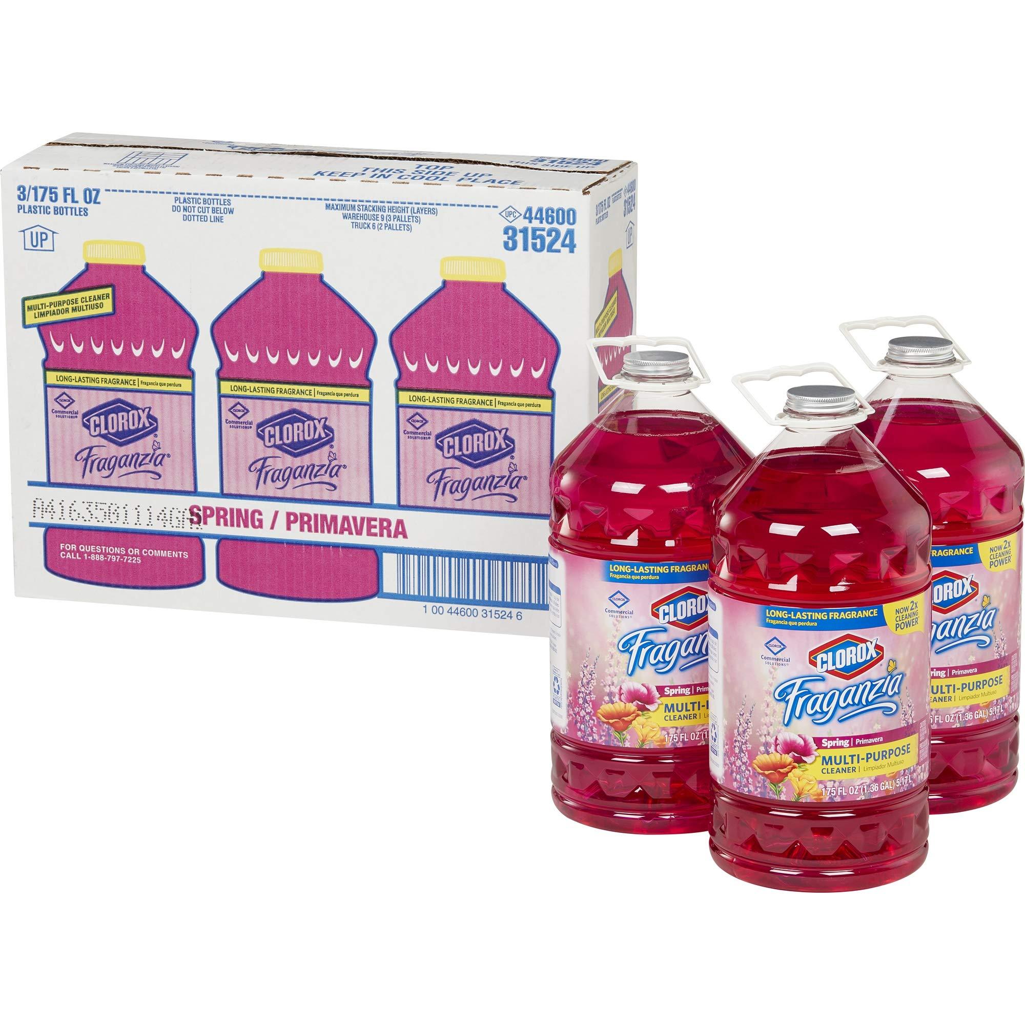 Clorox Fraganzia Multi-Purpose Cleaner, Spring, 175 Ounces, 3 Bottles/Case (31524)