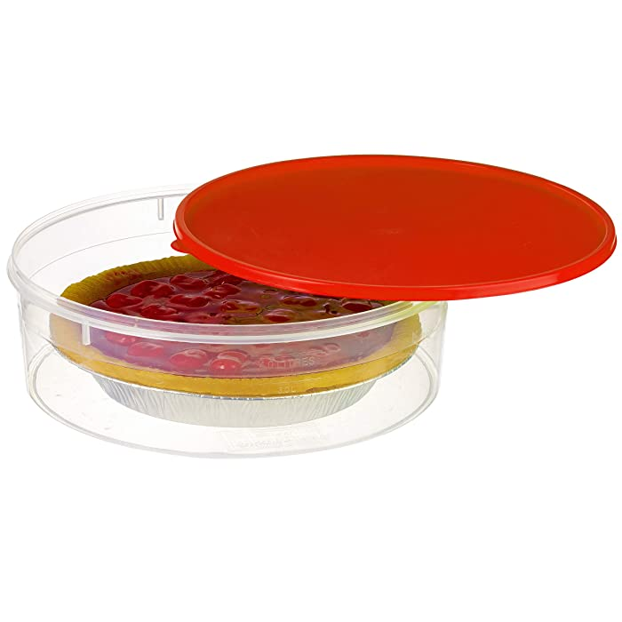"""Zilpoo Plastic Pie Keeper with Lid, 10.5"""", Christmas Cupcake Carrier, Muffin, Cookie, Cake Holder, Round Food Storage Container with Cover, Red"""