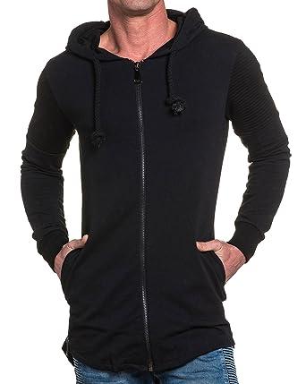 0f9dc591a06ef BLZ Jeans - Gilet Long Noir Homme zippé à Capuche - Couleur  Noir - Taille