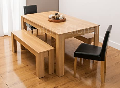Pleasing Dining Table With Faux Leather Chairs And Bench Oak Walnut Furniture Room Set By Smartdesignfurnishings Table 2 Chairs 2 Benches Oak Caraccident5 Cool Chair Designs And Ideas Caraccident5Info
