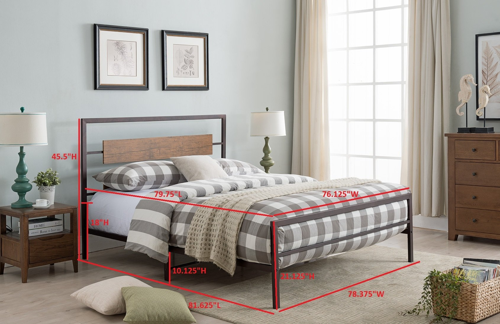 Kings Brand Furniture – Verona Pewter Metal/Walnut Wood Bed with Headboard & Footboard, King - Update your bedroom with the Verona Platform Bed, Headboard, Footboard, Rails, Slats & Center Support. This bed features a strong construction with slats that form a sturdy base to keep your mattress in good shape for longer. Featuring a metal frame with a rectangular reclaimed wood look. - bedroom-furniture, bedroom, bed-frames - 81odbX oaIL -