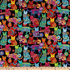 Timeless Treasures Color Me Cat Coloring Quilt Fabric By The Yard, Multicolor