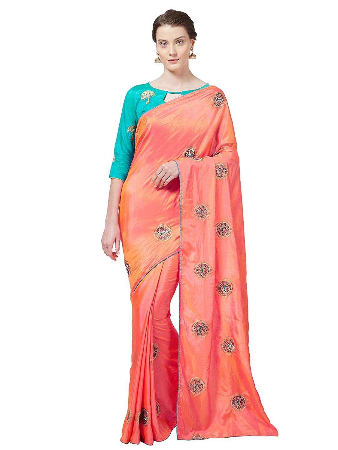 613cb7208465bb Blissta Silk with Blouse Piece Saree (GFBLDBRD05 Peach OneSize)  Amazon.in   Clothing   Accessories