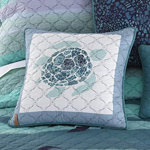 Donna Sharp Throw Pillow – Summer Surf Coastal Decorative Throw Pillow with Sea Turtle Pattern – Square