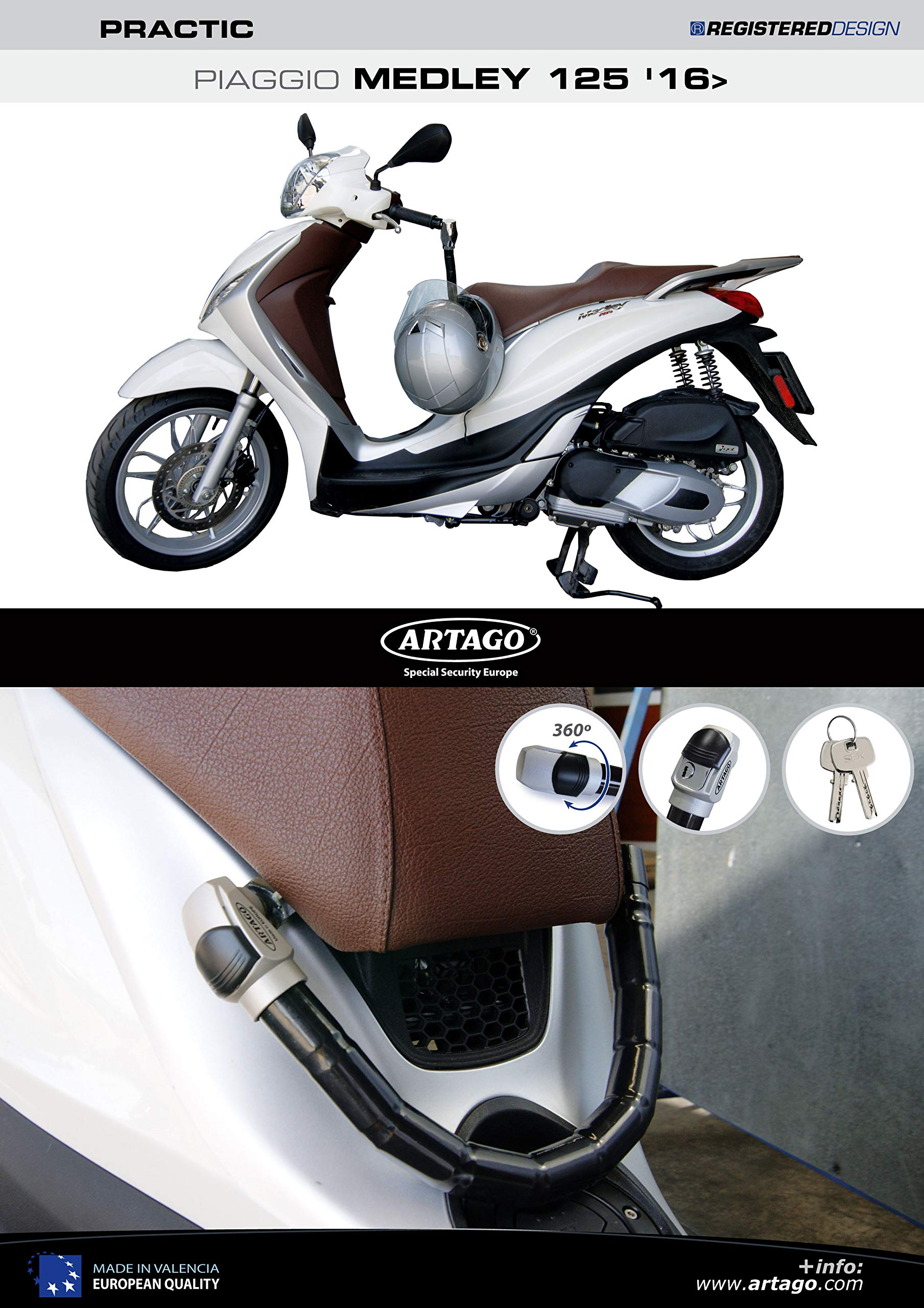 Artago 1638STY Anti-Theft Practic Style Handlebar Lock with Holder for Piaggio Medley 125