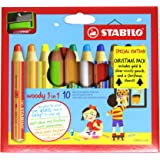 STABILO UK2/XM-880102 Woody Multi-Talented Pencil Wallet with Sharpener and Stencil - Multi-Colour (Pack of 10)